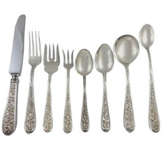 Corsage by Stieff Sterling Silver Floral Iris Flatware Set 8 Service 69 Pieces - $3,795.00