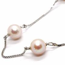Halskette Weißgold 18K, Perlen Pink Fischen, 8 mm Durchmesser, Kette Venetian image 2