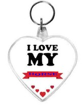 keyring double sided heart, love my horse design, keychain