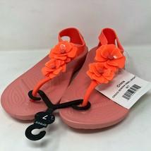 Crocs Womens Serena Embellish Floral Bright Coral Melon Sandals Sz 7 US Flowers - $64.34