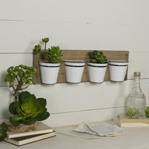 Wall Mounted Planter with 4 Pots Wooden Wall Plaque with Four Half Bucke... - $89.95
