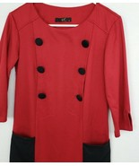 RUJ Womens Size Small Red Black Stretch Shift Dress Front Pockets Buttons - $23.60