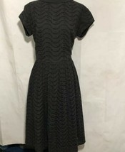 Black Eyelet Dress Vintage  Fit Flair Round Neck Short Sleeves Fully Lin... - $73.26