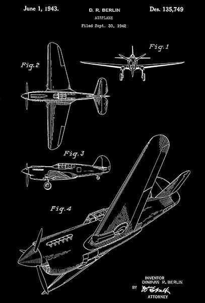 Primary image for 1943 - Airplane - D. R. Berlin - Patent Art Poster