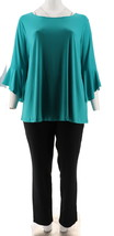 Women with Control Tall Top Slim Ankle Pant Set Caribbean Green L NEW A3... - $35.62
