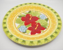 "Fitz & Floyd Large Round Tutti Frutti Hibiscus Platter Embossed 14"" Gree... - $43.55"