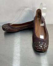Lucky Brand Secho 7.5 Ballet Flats Burgundy Leather Metal Studded Cap To... - $14.41
