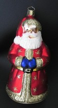 "7"" Glass Santa Christmas Ornament Christborn Red Robe, Gold Stars, Glitter - $14.99"