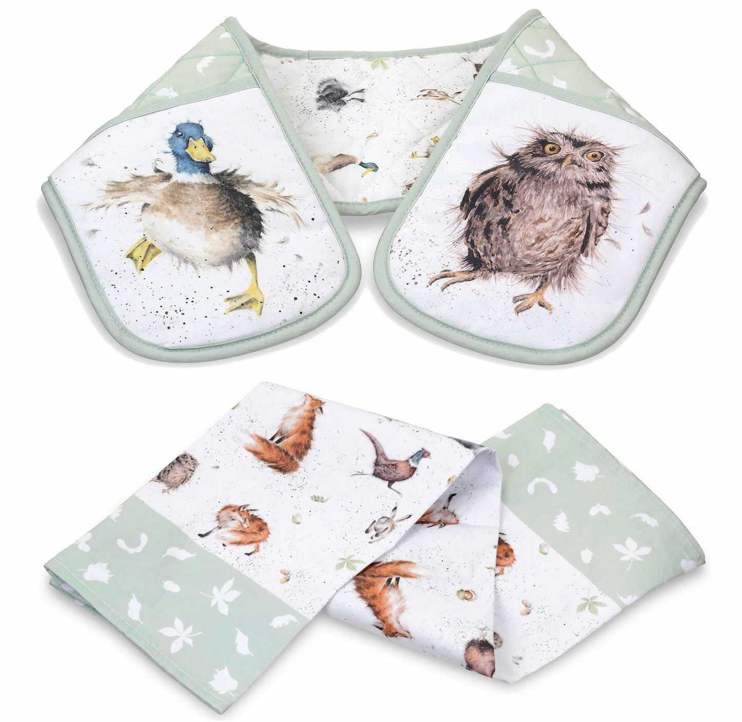Lot de Animaux Pays Double Gant Four & Thé Serviette Fox Badger Chouette Lièvre