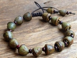 Prayer Beads Eucalyptus Pod Adjustable Wrist Mala Prayer Bracelet  #41022
