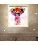 8 X 10 Watercolor Rainbow Ostrich Matted Artwork - $12.90