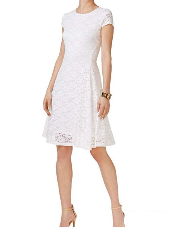 Alfani Dress Lace Fit Flare Bright White Cap Sleeve Stretch Scoop Womens Size 4