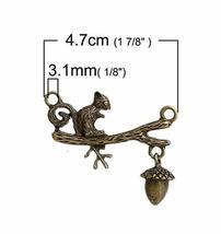 Squirrel Connector Pendant w/Acorn Antiqued Bronze Charms - 2 PCs - $9.90