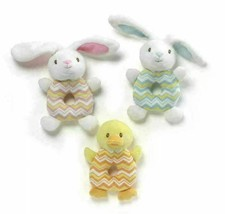 GUND Plush Ring Rattle - Bunny or duck - Blue Pink Yellow Shower Gift In... - $6.99
