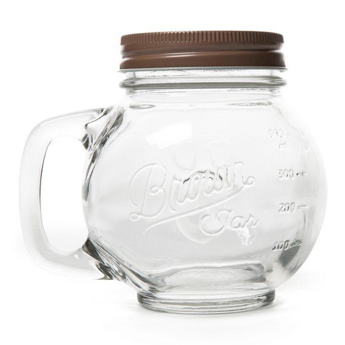 LINE FRIENDS Character Brown Face Glass Jar Official Goods