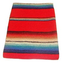 #776 Red Serape Falsa Fiesta Blanket Classic Mexican Yoga Mat Pattern Co... - $30.69 CAD