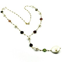"""18K YELLOW GOLD 17.3"""" 44cm NECKLACE FACETED TOURMALINE DROPS PEARLS, BALLS CHAIN image 1"""