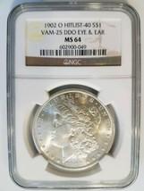1902 O Morgan Silver Dollar NGC MS 64 VAM 25 DDO Eye & Ear Mint Error Coin - $219.99