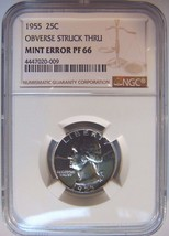 1955 Washington Silver Quarter NGC PF 66 Struck Thru Mint Error Strike T... - $139.99