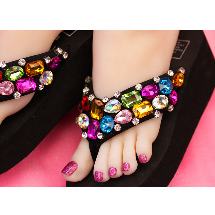 Primary image for Black Flip Flops Wedge Summer Sparkle Sandal Shoes Colorful Stones Bling Girl
