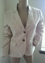 J Crew Seersucker Beige Tan White Stripe Nautical Cotton Blazer Jacket 8 - $66.49