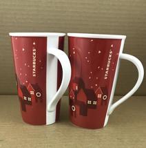 2 Starbucks 2013 Holiday Christmas Coffee Mugs Red Houses Village 16 oz ... - $9.39