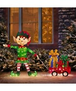 Lighted Santa's Elf With Wagon Of Gifts Sculpture Outdoor Christmas Dec... - $190.57