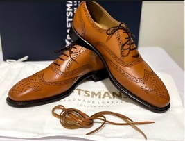 Handmade Men's Brown Leather Wing Tip Heart Medallion Lace Up Dress/Formal Shoes image 2