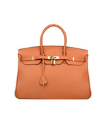 35 cm St. Germain Genuine Leather Top Handle Padlock Handbag Tan Designe... - $399.00
