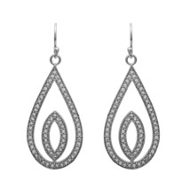 Geometric Open Shape White Topaz 925 Sterling Silver Dangle Statement Ea... - $23.17