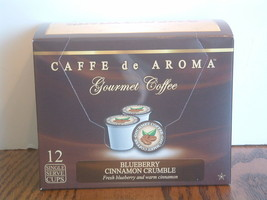 Caffe de Aroma Flavored Blueberry Cinnamon 12 Single Serve K-Cups Free S... - $9.99