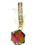14k Gold Huggies Dangling Earrings  Rainbow Stone  ON SALE  - $75.23