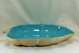 "California Pottery Blue Leaf Shaped Console Bowl 13 1/2"" - $17.32"