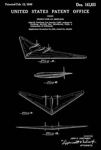 Primary image for 1946 - Northrop N-1M Flying Wing Airplane - Patent Art Poster