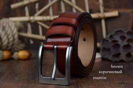 COWATHER cowhide genuine leather belts for men brand Strap male pin buckle vinta image 4