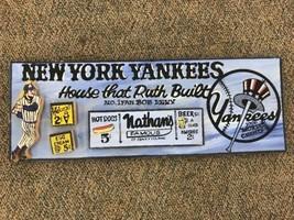 VINTAGE 1996 ORIGINAL HARRY Glaubach New York Yankees Wood Painting  Bab... - $145.44