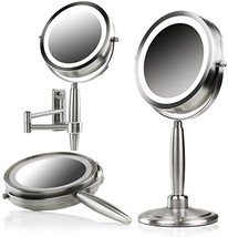OVENTE 3-in-1 Makeup Mirror Tabletop, Wall-Mount, Handheld with 3 SmartT... - $70.05