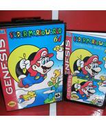 Super MarioWorld 64 US Cover with Box and Manual Cartridge for Sega Mega... - $24.78