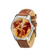 Old Vintage World Map Men Women wrist watch Birthday, Christmas Gift Jap... - $52.75 CAD