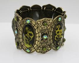 Fashion Statement Cuff Bracelet Simulated Green Art Style Cabochons & Crystal - $19.79
