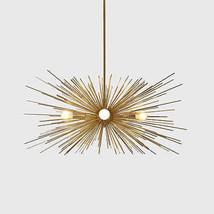Mid Century Modern Large Gold Brass Urchin Chandelier 5 bulb Starburst S... - £352.46 GBP