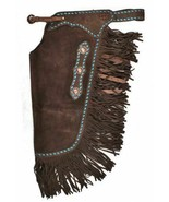 Western Saddle Horse Chinks / Chaps Brown Suede w/ Turquoise Buckstitch ... - $98.80