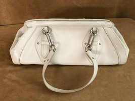 Cole Haan bag Trinity shoulder purse white leather messenger tote silver buckle - $39.50