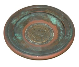 Judaica Israel Vintage Copper Plate Tray Zel Zion Signed 1960's Wall Hang image 3