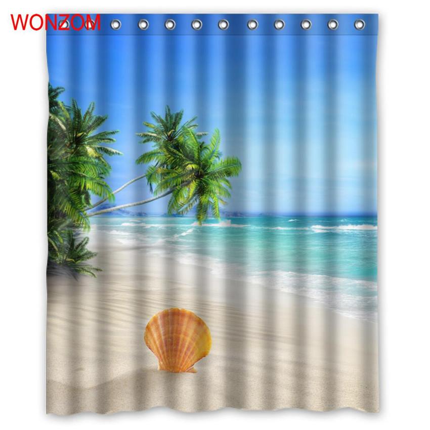 WONZOM Sea Landscape Shower Curtains For Bathroom Decor Modern Shell Waterproof