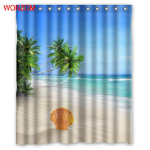 WONZOM Sea Landscape Shower Curtains For Bathroom Decor Modern Shell Wat... - $35.15