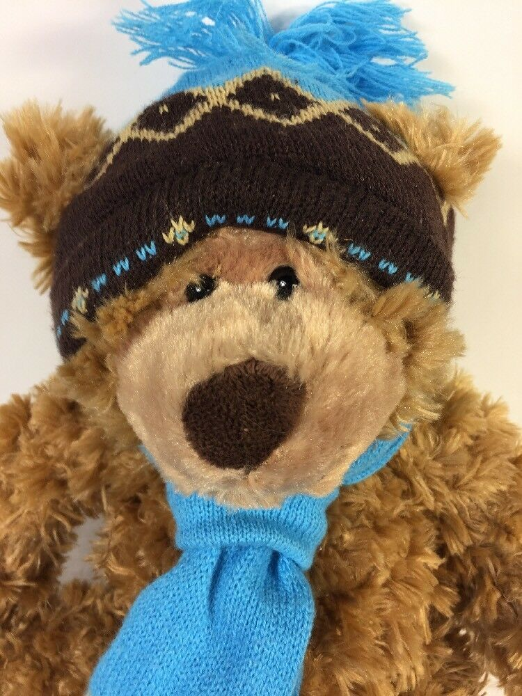 "Mary Meyer Plush St. Jude Oliver Bear 16"" Stuffed Animal in Blue Knit Hat Scarf image 2"