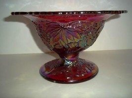 Fenton Glass RUBY RED CARNIVAL CHRISTMAS HOLLY COMPOTE BOWL Family Signed - $242.02