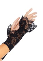 LA-A1955 Sexy Black Lace Gauntlet Art Warmers Burlesque Gloves with Ruffle - $9.95