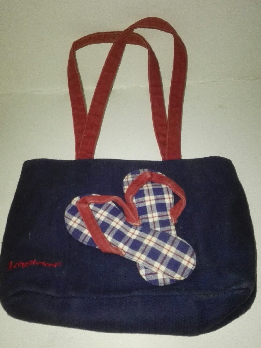 Primary image for Longaberger navy blue summer pair of sandals tote bag
